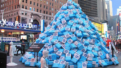KIND Piles 45K Lbs of Sugar in Times Square to Illustrate Need for Better Snacks
