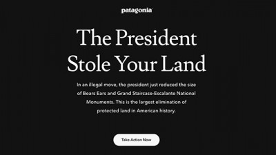 Patagonia Blacks Out Homepage, Calls on Consumers to Protect Public Lands