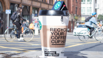 Giant Coffee Cup Bins Offer Paper Cup Recycling in New Social Experiment