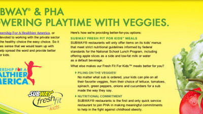 Subway Joins First Lady in Promoting Healthy Food to Kids by 'Powering Playtime with Veggies'