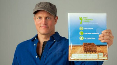 Woody Harrelson Continues to Chip Away at Deforestation with New Straw-Based Paper